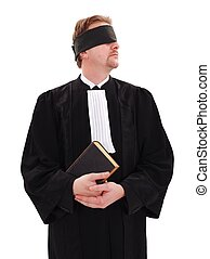 Blindfold lawyer holding book - concept of blindness or...