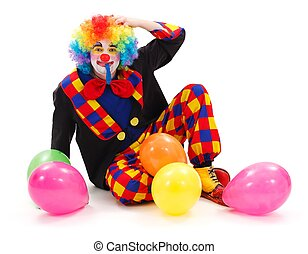 Clown with colorful balloons