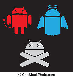 android robot different versions of the appearance