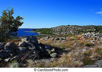 roccioso, paesaggio, scandinavo