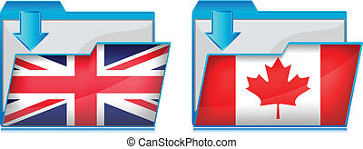 Folder icon with flag of British and CanadaVector