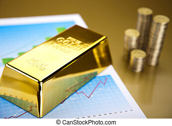Finance Concept - Coins and gold bars,Finance Concept
