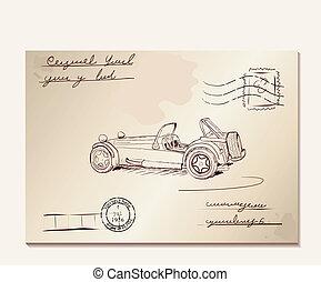 Vintage letter with old car. Vector illustration eps8