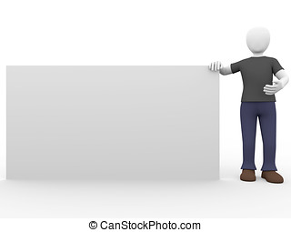 presenting - A man is presenting a blank banner. Put your...