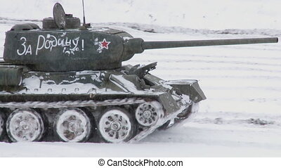 Legendary Russian Tanks T34 - MOSCOW, RUSSIA - DECEMBER 25:...