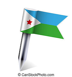 Vector Djibouti flag isolated on white. Eps10