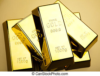 Stack of gold bars - Gold background