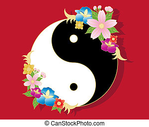 chinese flowers - an illustration of a chinese yinyang...
