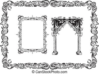 Art Nouveau frames. Set of black and white vector...