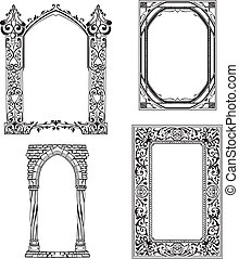 Art Nouveau frames Set of black and white vector...