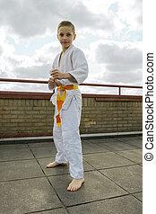 judoka, adolescente, Menino, treinamento, judo, TH