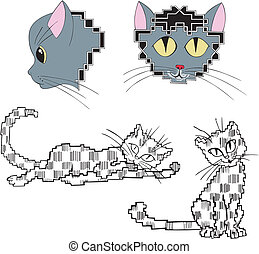 Pixelated stylized cats. Set of color and black/white vector...