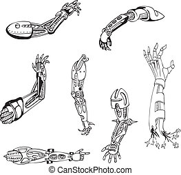 Biomechanical Cyber-Hands - Biomechanical cyber-hands. Set...