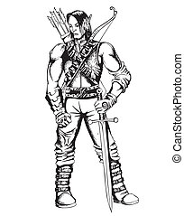 Elf Warrior - Fantasy elf warrior. Black and white vector...