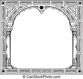 Frame in form of gate Black and white vector illustration