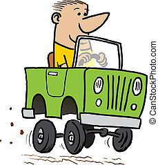 Cartoon Jeep - Cartoon of a man driving a jeep.