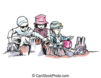 Kids build sand castle on beach. Color vector illustration.