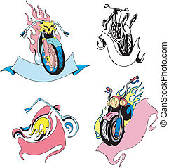 Motorcycles with ribbons. Set of color vector illustrations.
