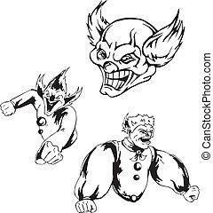 Spiteful jokers. Set of black and white vector...