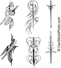 Tribal blade designs. Set of black and white vector...