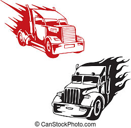 Truk flames - Two truck flames Set of vector illustrations