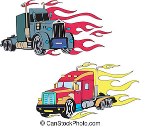 Truk flames - Two truck flames Set of color illustrations