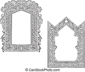 Two Art Nouveau Frames. Set of black and white vector...