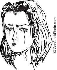 Crying girl Black and white vector illustration