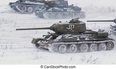 Legendary Russian Tanks T34 attack - MOSCOW, RUSSIA -...
