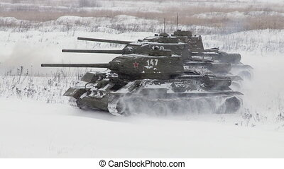 Russian Tanks T34 attack - MOSCOW, RUSSIA - DECEMBER 25:...