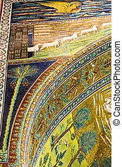 mosaic detail shot in Sapollinare church,Ravenna Italy