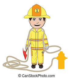 fireman - illustration of a fire fighter in his uniform,...