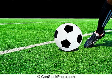 Kicking a soccer ball on a grass field