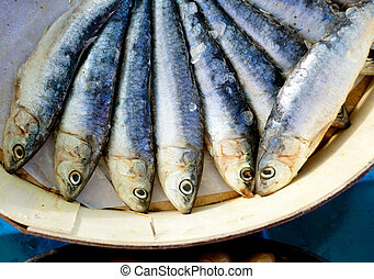brine salted sardines in round wood box - brine salted...