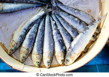 brine salted sardines in round wood box