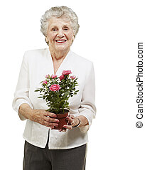 senior woman holding a flower pot against a white background