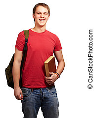 portrait of young student holding book and carrying backpack...