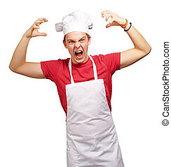 portrait of young cook man wearing apron doing aggressive...
