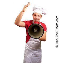 portrait of happy cook man shouting using megaphone over white background