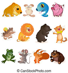 Set of twelve funny animals