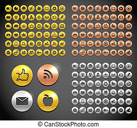 Modern metallic social media icons collection