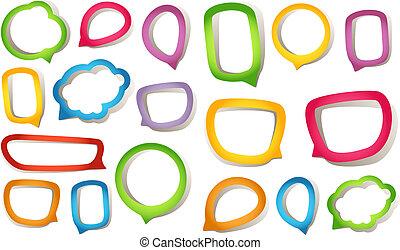 Color paper speech clouds