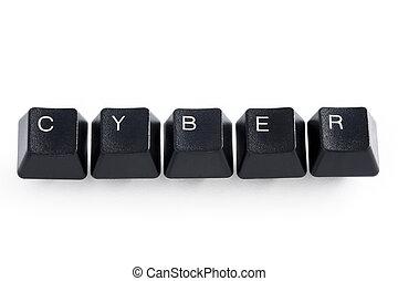 cyber - computer keys spelling cyber