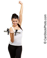 portrait of young woman doing fitness with weights over white background