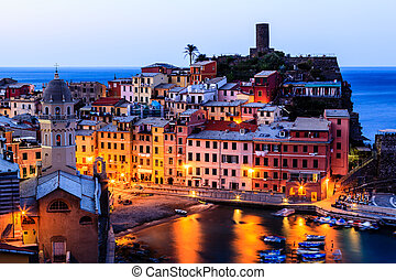 Vernazza Castle and Church at Early Morning in Cinque Terre, Italy