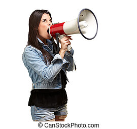 portrait of young woman screaming with megaphone against a white background