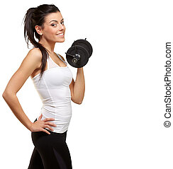 portrait of a young pretty woman holding weights and doing...