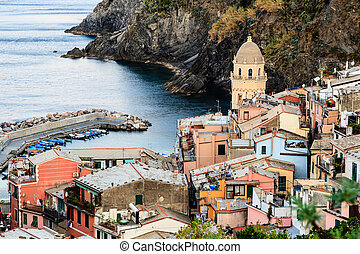 The Medieval Church in the Village of Vernazza, Cinque Terre, Italy