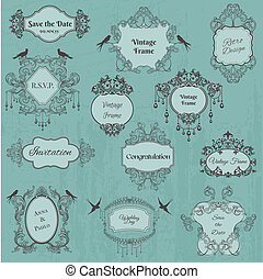 Vintage Frames and Design Elements- for wedding, invitation, birthday, greetings, scrapbook - in vector