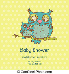 Baby Shower Card with Owls - with place for your text - in...